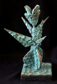 """""""Organic Form"""" Signed, Bronze Sculpture with Green Patina"""