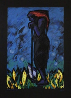 """""""Rest (1985)"""" Signed, Limited Edition Serigraph on Black Paper-Museum Copy"""
