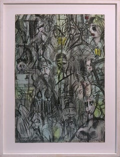 Nighttown (Joyce's Ulysses) Framed, Signed Mixed Media (Conte, Wash, and Chalk)