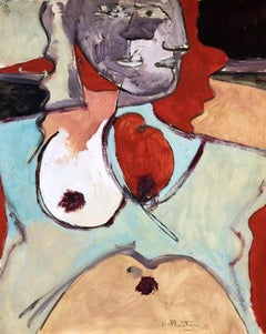 """""""Two Faces"""" Original Gouache on Paper, Signed by Artist"""