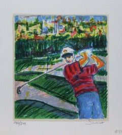 """""""Title Unknown"""" Golf-themed, Limited Edition Print. Pencil-Signed by the Artist"""