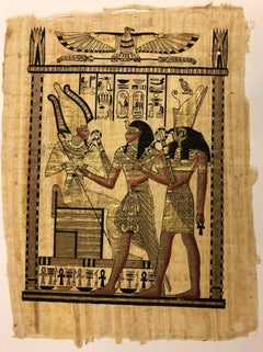 Egyptian Scene V-Painting on Pith Rice Paper