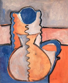 """""""Blue Flower In A Vase"""" Original Gouache on Paper, Signed by Artist"""