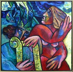 """""""Love's Melody (1989)"""" Signed and Dated Original Oil Painting on Canvas"""