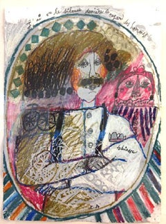 """""""I Have Seen Silence in his Eyes (1980)"""" Framed, Original Crayon Drawing"""