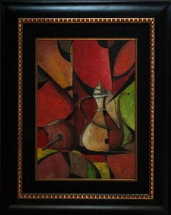 """Cubist Teapot"" Signed and Framed Gouache on Paper by Ivan Kliun"