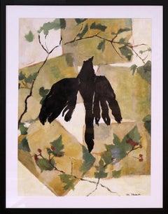 Bird & Vine-Original Mixed Media (Acrylic Painting, Collage)