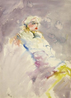 """""""Reclining Woman in Lavender"""" Watercolor on Paper"""