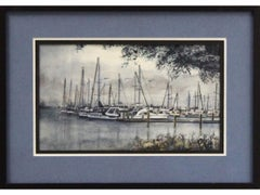 St. Petersburg Harbor-Framed Original Watercolor on Paper, Signed by Artist