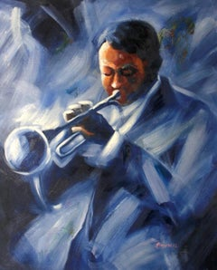 Trumpet-Original Oil on Unstretched Canvas, Signed by Artist