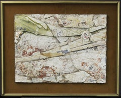 Abstract (Untitled)-Plaster/Mixed Media Painting on Velour, Signed by the Artist