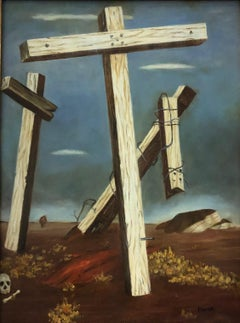 (Title Unknown) Crosses, Painting with Gold Frame. Signed by the Artist.