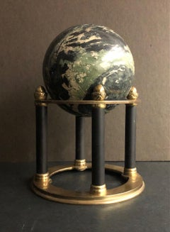 Green Marble Sphere on Black and Gold Base