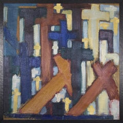 (Title Unknown) Crosses. Framed Mixed Media Painting