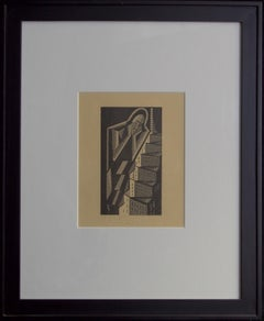 Weeping Man-Framed Woodblock Print. Signed and Dated by the Artist