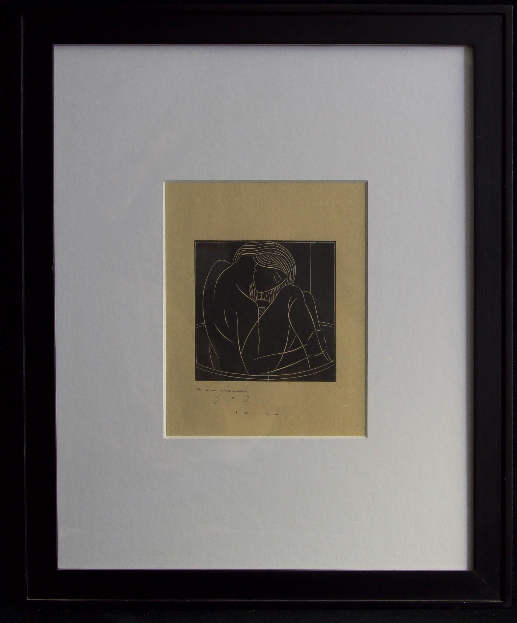 Petra-Framed Woodblock Print. Signed and Dated by the Artist