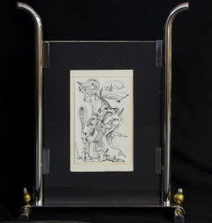 Tow the Line-India Ink Drawing on Paper in Standing Silver and Glass Case