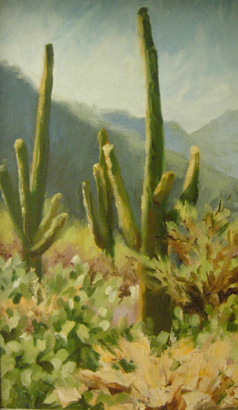 Desert Greys by Cathy Goodale Oil Painting of Cactus against mountains image: 16x10