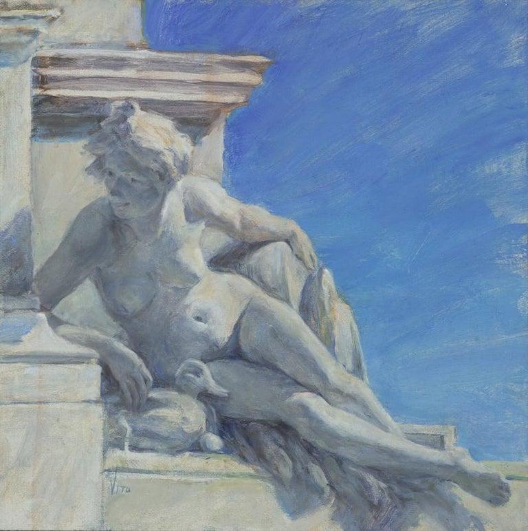 Around the Corner - American Impressionist Painting by Teresa Vito
