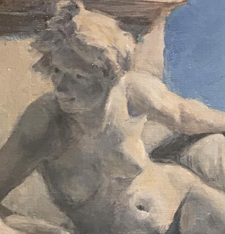 Around the Corner - Brown Nude Painting by Teresa Vito