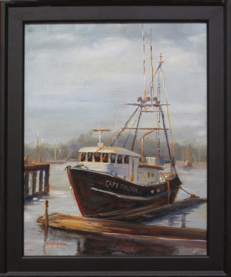 Lu Haskew Landscape Painting - Cape Falcon Boat