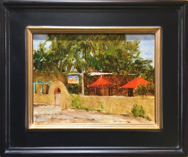 James Biggers Landscape Painting - Red Umbrella - Taos