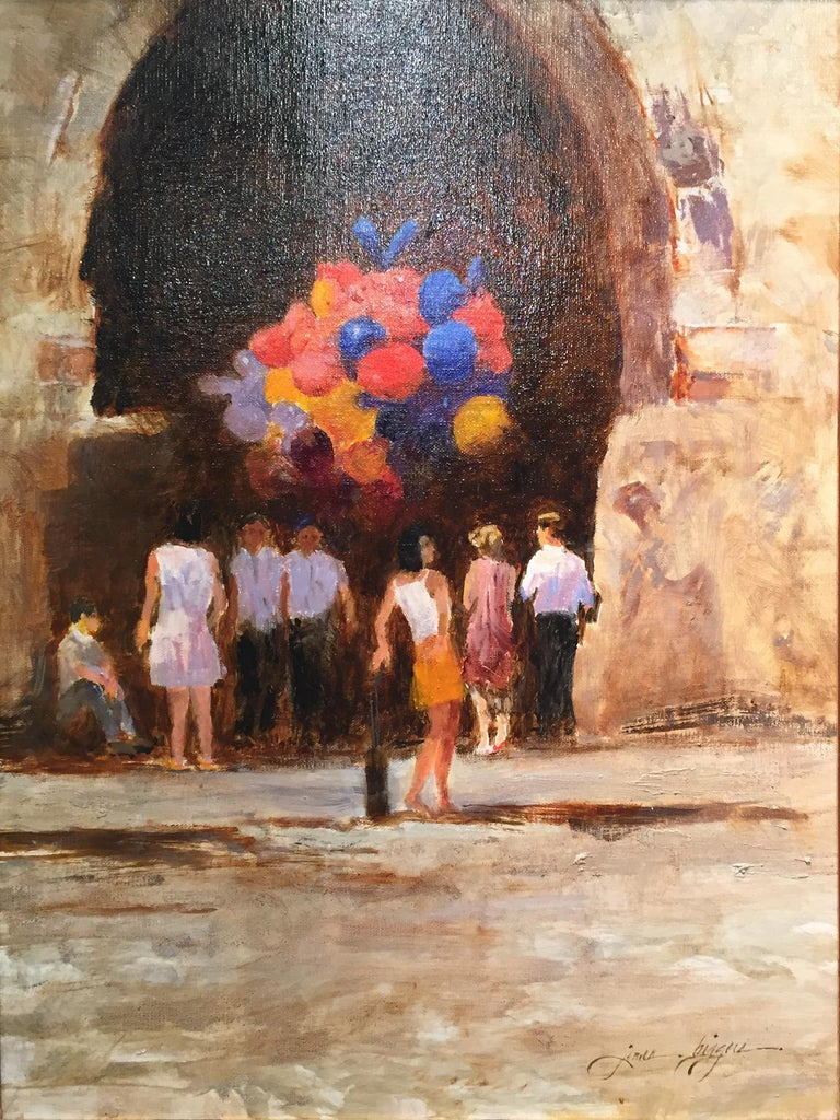 Balloons in Doorway - Painting by James Biggers