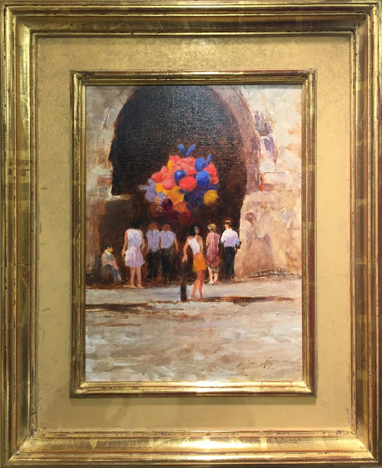 James Biggers Landscape Painting - Balloons in Doorway