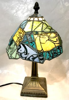 Secret Stash,Tiffany-style stained glass lamp, graffiti, sneakers, Nike, blue