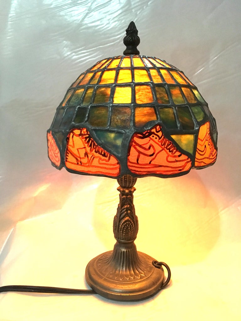 Nike Deadstock, Tiffany-style stained glass lamp, Nike, sneakers, orange, green - Other Art Style Art by TF Dutchman