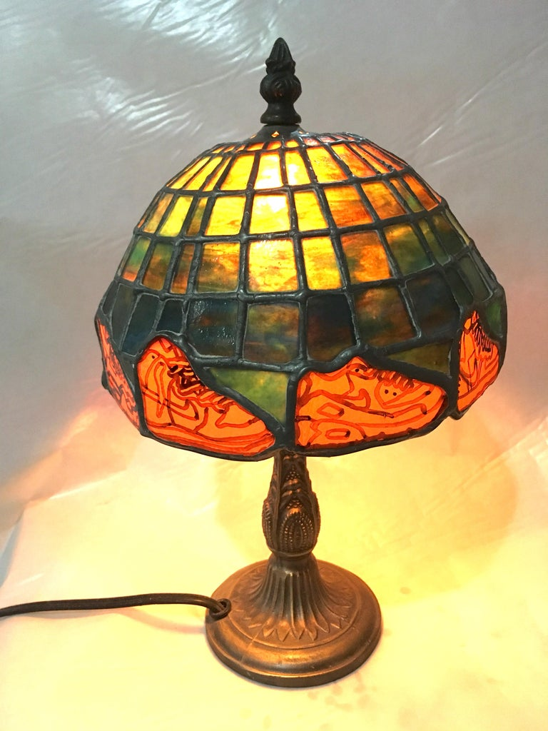 Nike Deadstock, Tiffany-style stained glass lamp, Nike, sneakers, orange, green For Sale 2