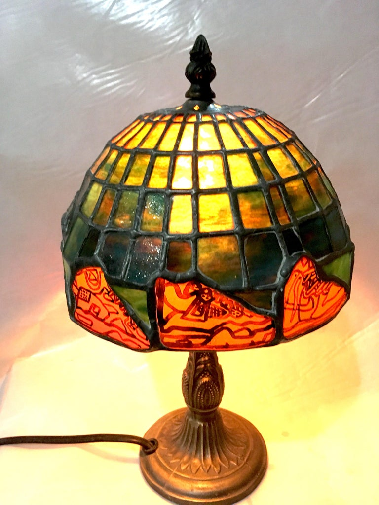 Nike Deadstock, Tiffany-style stained glass lamp, Nike, sneakers, orange, green For Sale 1
