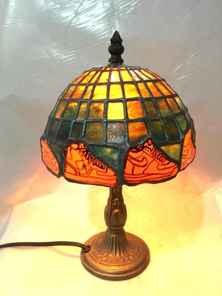 Nike Deadstock, Tiffany-style stained glass lamp, Nike, sneakers, orange, green - Art by TF Dutchman