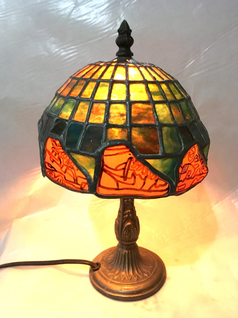 Nike Deadstock, Tiffany-style stained glass lamp, Nike, sneakers, orange, green For Sale 4