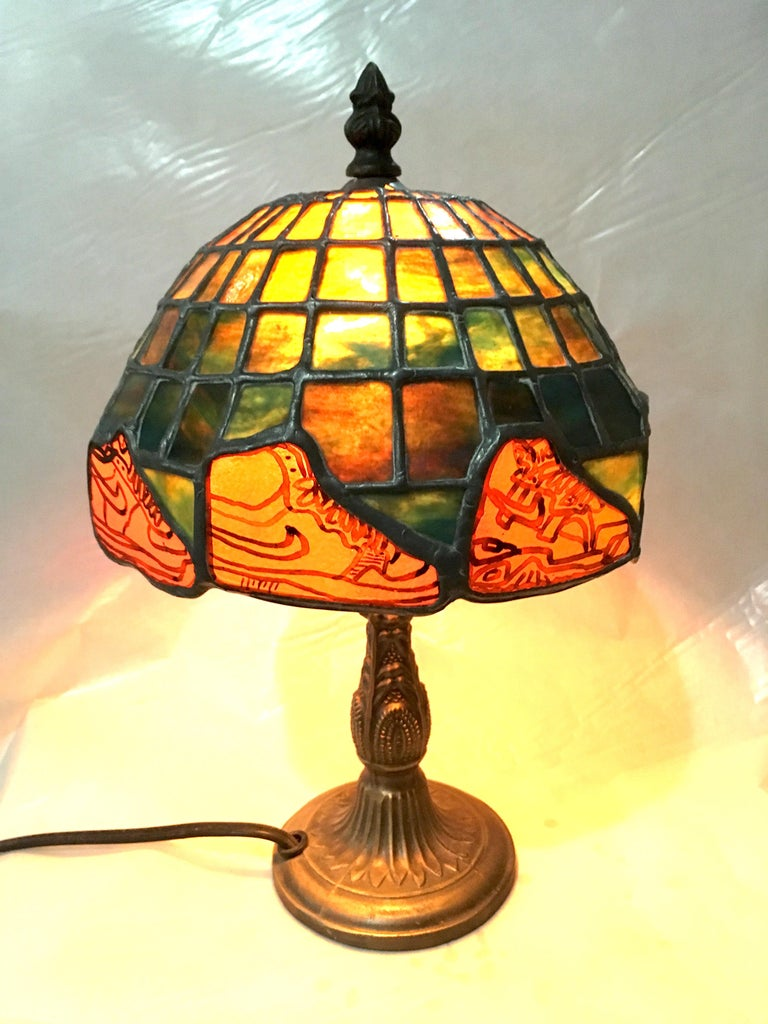 Nike Deadstock, Tiffany-style stained glass lamp, Nike, sneakers, orange, green For Sale 3