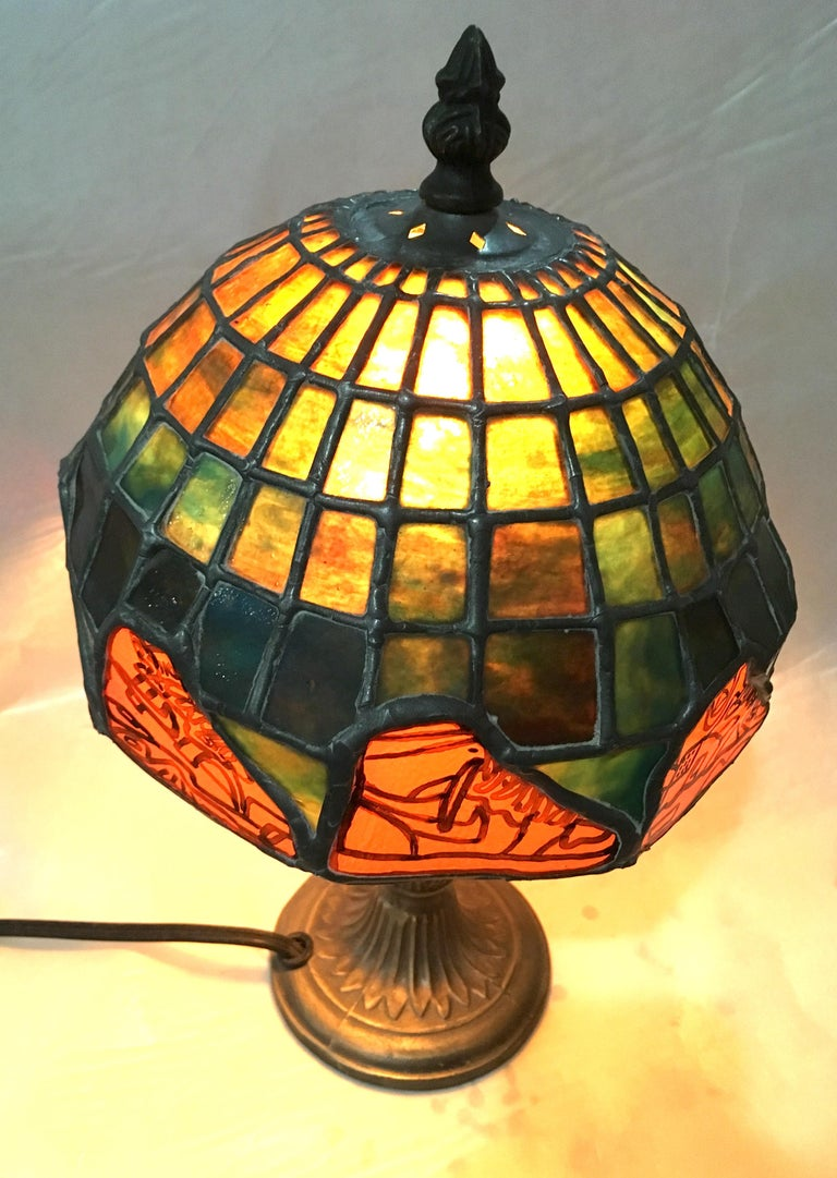 Nike Deadstock, Tiffany-style stained glass lamp, Nike, sneakers, orange, green For Sale 5