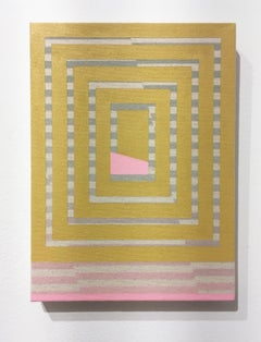 Breathing, acrylic, spray paint on canvas, abstract geometric, yellow gray pink