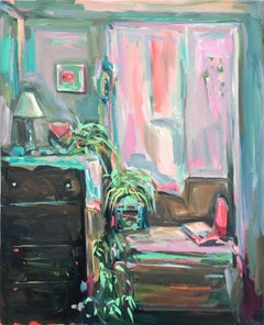December, oil on canvas, impressionist, pastel, bedroom, sunlit