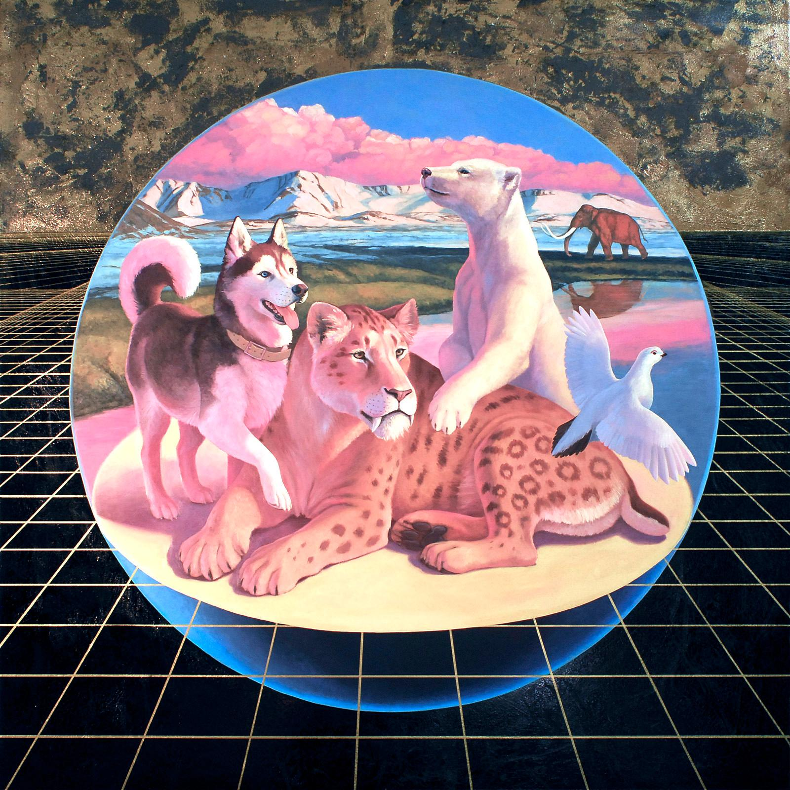 Permafrost, oil & acrylic on panel, figurative, animals, landscape, surreal