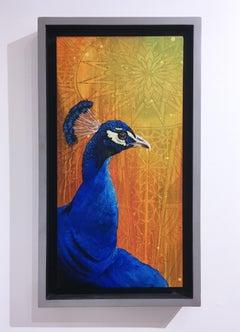 Peacock, 2016, custom frame, yellow, orange, blue, pattern