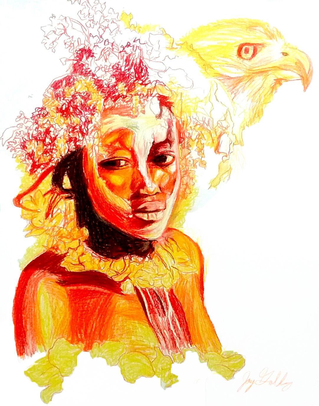 Fire (Hawk Spirit), 2017, figurative, yellow, orange, drawing, tribal, MarYah