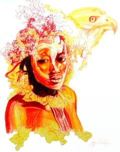 Fire (Hawk Spirit), 2017, figurative, yellow, orange, drawing, tribal, MarYah