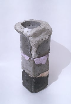 Layered Cube Votive Sculpture, pink, grey, black concrete votive candle holder