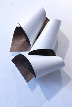 Curve 01, minimalist wall sculpture, geometric abstract form, walnut wood ribbon