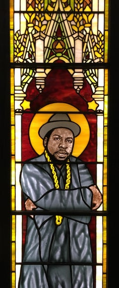 Jam Master Jay, Tiffany-style stained glass panel, memorial, D.J. Jam Master Jay