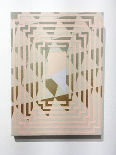 Posture, acrylic on canvas, abstract geometric, triangles, pink, brown