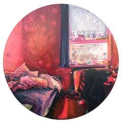 Manabraut, oil on canvas, round, impressionist, red, pink, bedroom, window