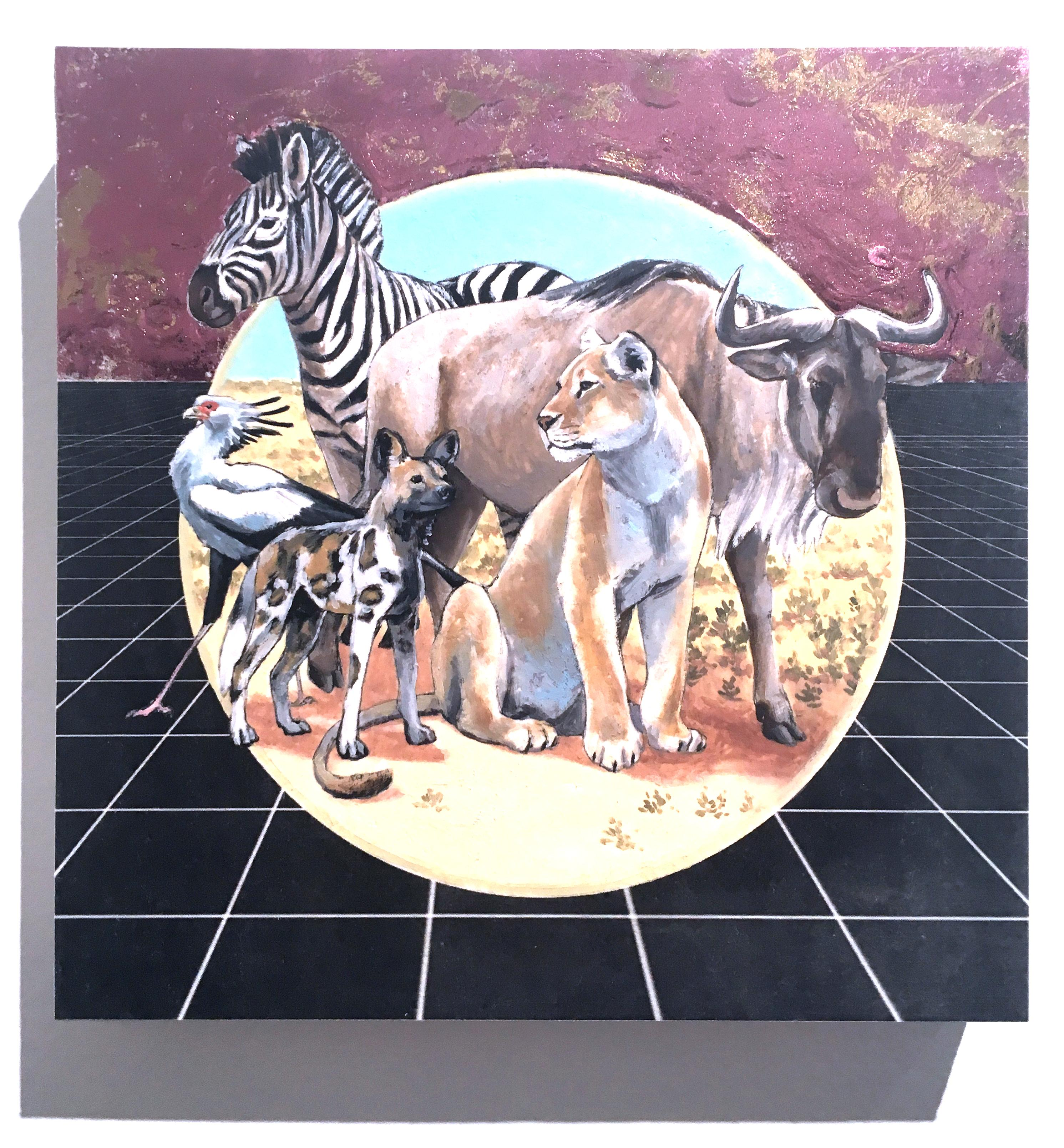 African Savanna, oil & metallic painting, figurative, animals, landscape