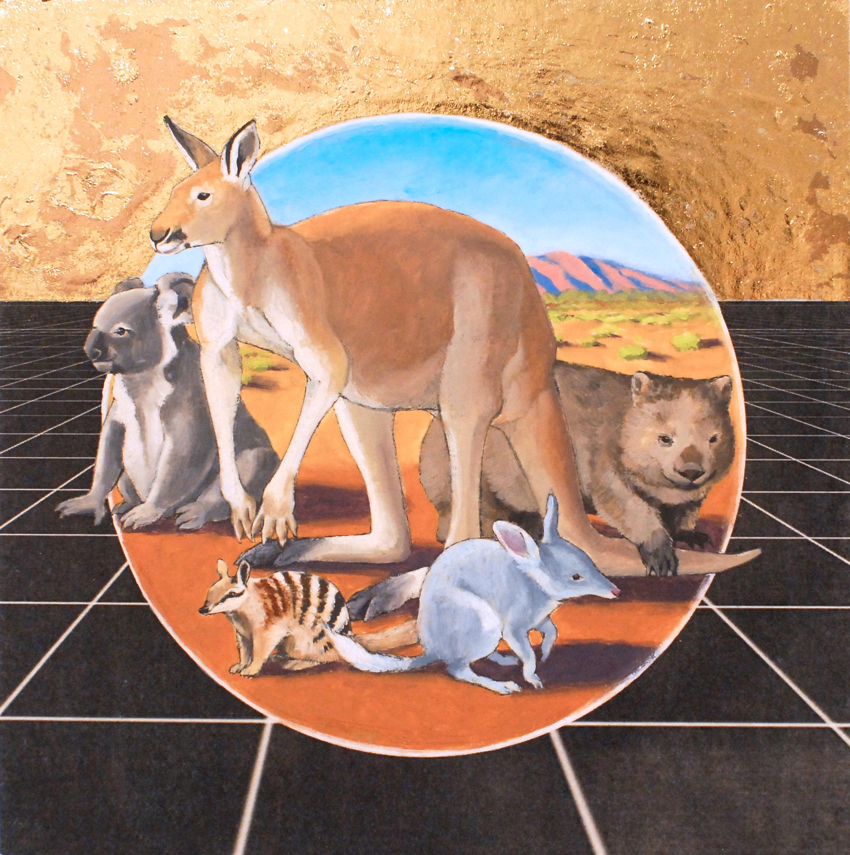 Australian Outback, oil & metallic foil on panel, animals, figurative, landscape