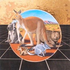 Australian Outback, oil & metallic foil on panel, animals, figurative, landscape
